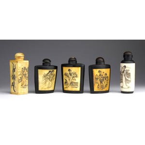 Five bone and horn snuff bottles;XX century; ...