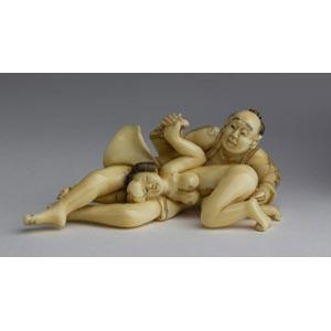 Erotic vegetable ivory netsuke;XX century; ...