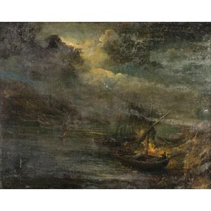 NAPLES SCHOOLLandscape with ships18th ...