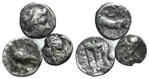 Lot of 3 Greek AR coins, including Neapolis, ...
