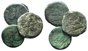 Lot of 3 Roman Republican Æ, including 2 ...