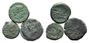 Lot of 3 Roman Republican Æ coins, to be ...