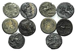 Lot of 5 Roman Republican AR Denarii, to be ...