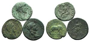 Lot of 3 Roman Imperial Æ Asses, including ...