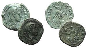 Severus Alexander, lot of 2 Æ Sestertii (R/ ...