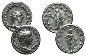 Lot of 2 Roman AR Antoninianii, including ...