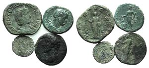 Lot of 4 Roman Imperial Æ coins, to be ...