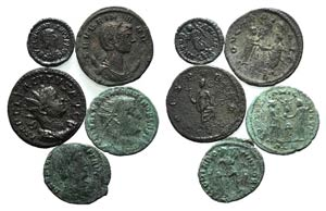 Lot of 5 Roman Imperial Æ coins, to be ...