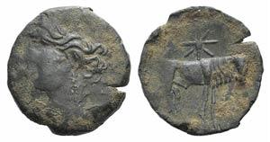 Carthaginian Domain, Sardinia, c. 216 BC. Æ ...