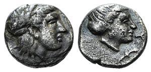Lesbos, Mytilene, c. 400-350 BC. AR Diobol ...