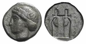 Ionia, Kolophon, c. 375-360 BC. AR Diobol ...