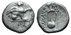 Ionia, Teos, c. 320-294 BC. AR Diobol (9mm, ...