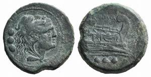 Anonymous, Rome, 215-212 BC. Æ Quadrans ...