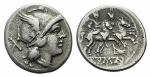 Rostrum tridens series, Rome, 206-195 BC. AR ...