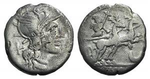 Anonymous, Rome, 143 BC. AR Denarius (17mm, ...