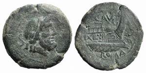 C. Augurinus, Rome, 135 BC. Æ Semis (26mm, ...