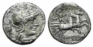 M. Opimius, Rome, 131 BC. AR Denarius (18mm, ...