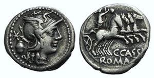 C. Cassius, Rome, 126 BC. AR Denarius (18mm, ...