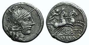 C. Cato, Rome, 123 BC. AR Denarius (18mm, ...