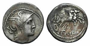 C. Claudius Pulcher, Rome, 110-109 BC. AR ...