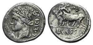 L. Cassius Caecianus, Rome, 102 BC. AR ...