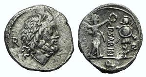 P. Sabinus, Rome, 99 BC. AR Quinarius (14mm, ...