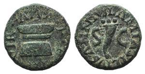 Augustus (27 BC-AD 14). Æ Quadrans (14mm, ...