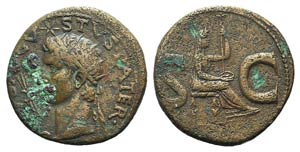 Divus Augustus (died AD 14). Æ As (27mm, ...