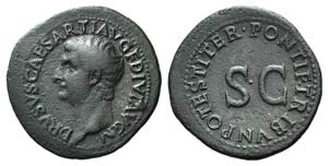 Drusus (Caesar, 19-23). Æ As (32mm, 10.65g, ...