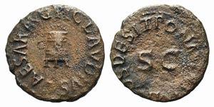 Claudius (41-54). Æ Quadrans (17mm, 2.04g, ...