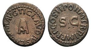 Claudius (41-54). Æ Quadrans (17mm, 3.35g, ...
