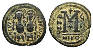 Justin II (565-578). Æ 40 Nummi (28mm, ...