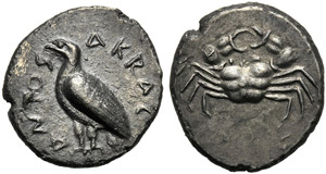 Sicily, Didrachm, Akragas, c. 510-500 BC; AR ...
