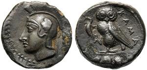 Sicily, Tetras, Kamarina, c. 425-405 BC; AE ...