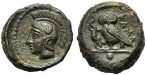 Sicily, Onkia, Kamarina, c. 410-405 BC; AE ...