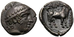 Thrace, Diobol, Ainos, c. 429-426 BC; AR (g ...