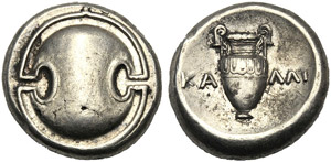 Beotia, Stater, Thebes, Kalli- magistrate, ...