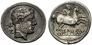 Iberia, Denarius, Bolskan, c. 150-100 BC; AR ...