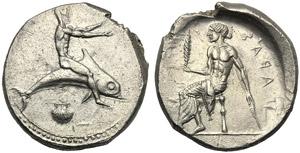 Apulia, Nomos, Tarentum, c. 450-440 BC; AR ...