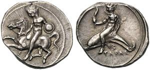 Apulia, Nomos, Tarentum, c. 425-380 BC; AR ...
