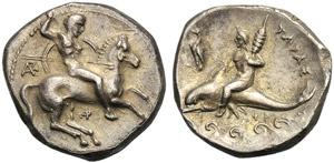 Apulia, Nomos, Tarentum, c. 332-302 BC; AR ...