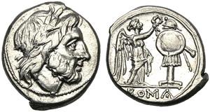 Anonymous, Victoriatus, Sicily, 211-208 BC; ...