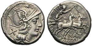 Pinarius Natta, Denarius, Rome, 155 BC; AR ...