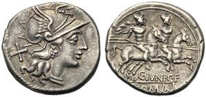 C. Junius C.f., Denarius, Rome, 149 BC; AR ...