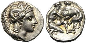 Apulia, Diobol, Tarentum, c. 450-380 BC; AR ...