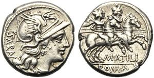 M. Atilius Serranus, Denarius, Rome, 148 BC; ...