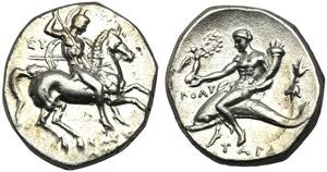 Apulia, Nomos, Tarentum, c. 280-272 BC; AR ...