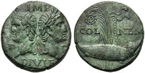 Augustus (27 BC - AD 14), Bronze, Gaul: ...