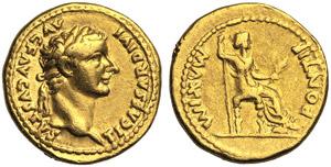 Tiberius (14-37), Aureus, Lugdunum, c. AD ...