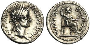 Tiberius (14-37), Denarius, Lugdunum, c. AD ...